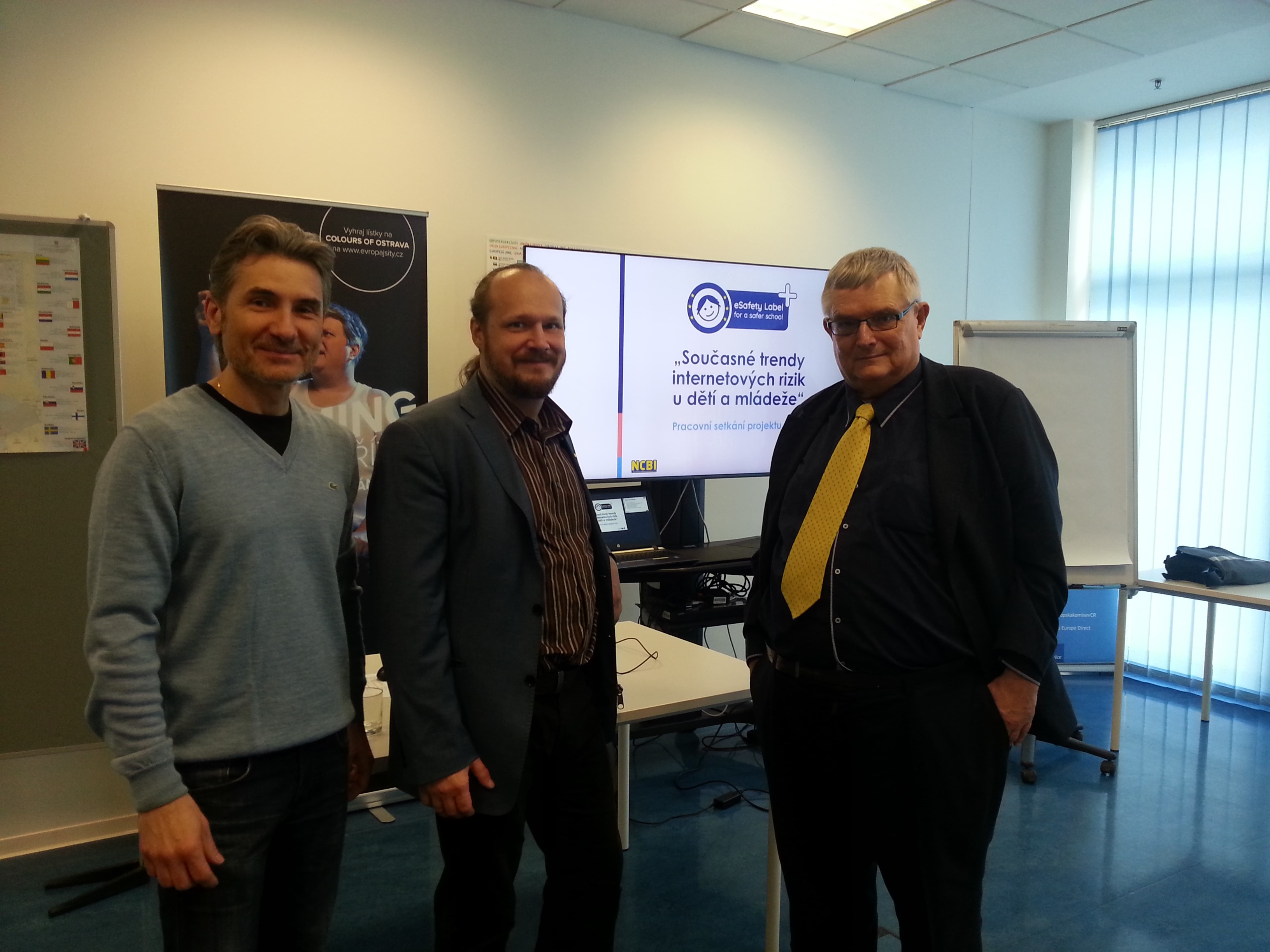 Jiri Palyza (NCBI), Marek Hencl (AARTKOM) and Milan Hausner (eSafety Label+ Champion) at the eSafety Label+ multiplier event